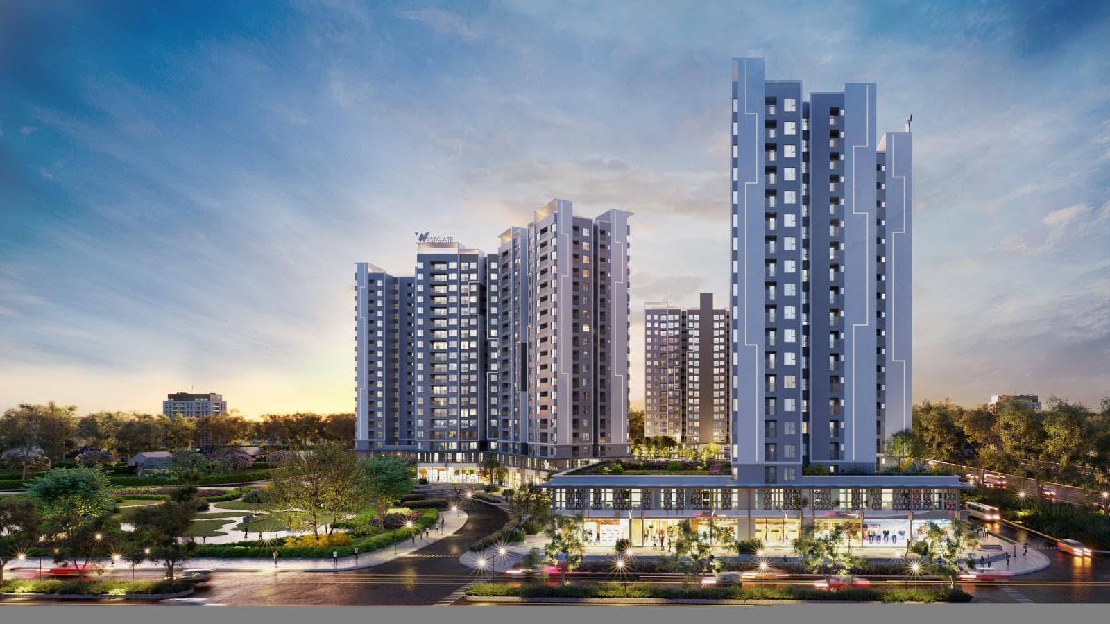 Phối cảnh 3 tòa nhà cao tầng nằm gần mặt đường, bên cạnh là khuôn viên trồng cây xanh